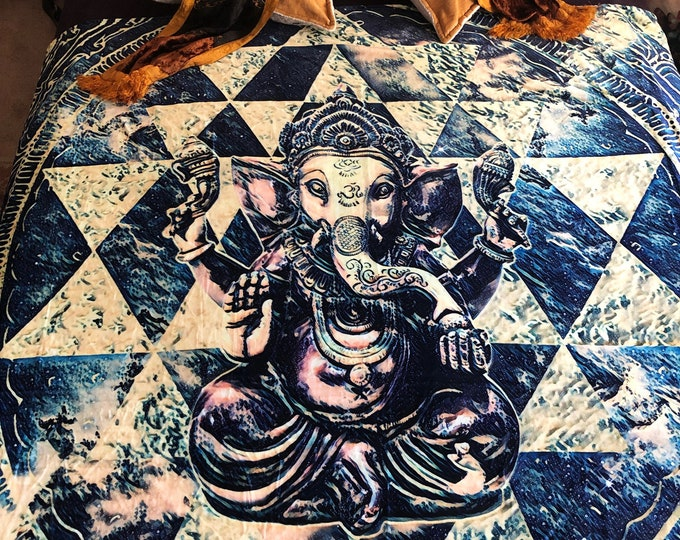 Ganesh Sri Yantra Fleece Art Blanket By Justin Chamberlain And Enlighten Clothing Co.