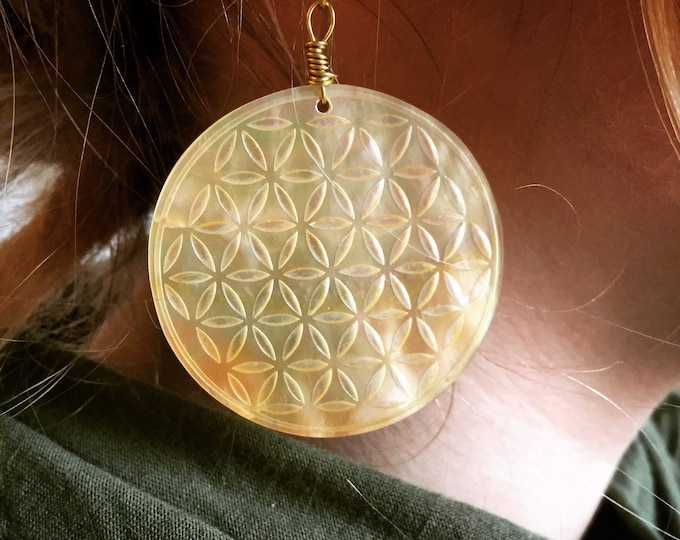 Yellow chakras mother of pearl earrings.  Original Sacred Geometry Jewelry by Enlighten
