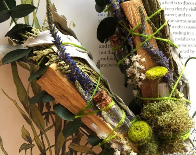 Fairy Garden Natural Air Freshener With Eucalyptus, Palo Santo, Selenite, Essential Oil, Cedar, Moss Handmade By Enlighten Clothing Co