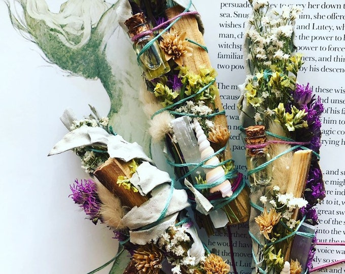Mermaid Life Essential Oil Natural Air Freshener With Sage, Palo Santo, Selenite, Shells, Dried Flowers Made By Enlighten Clothing Co