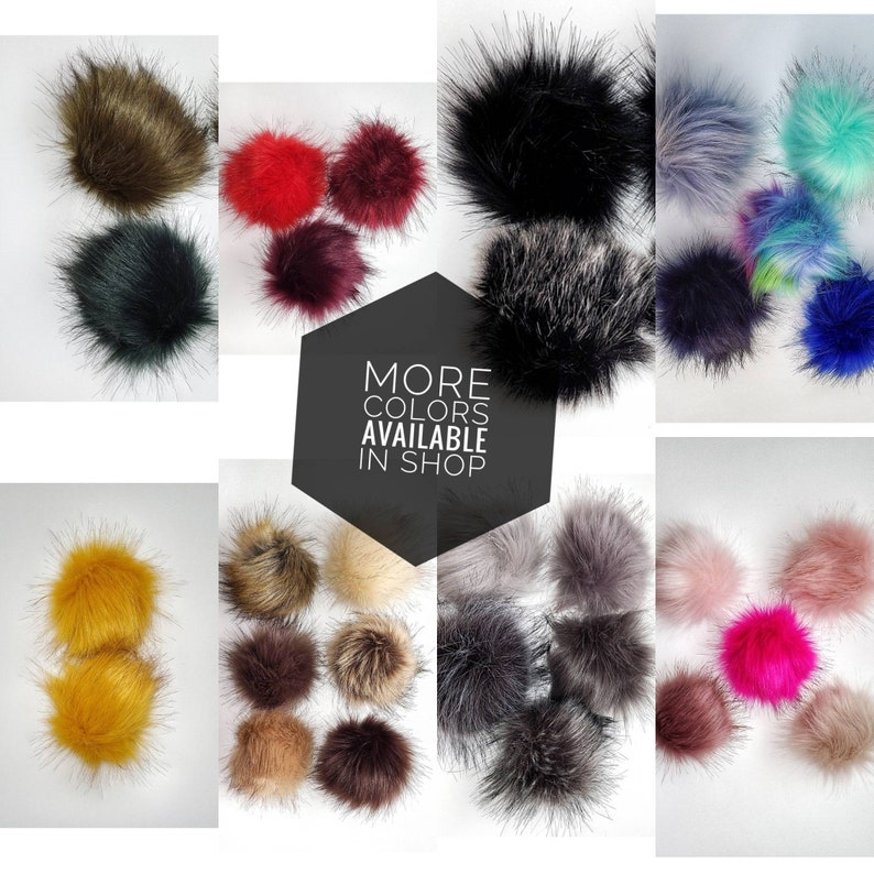 Green faux fur pompom Detectable DIY pompom 3.6inch pom furry accessory Fluffy PomPom with Elastic Loop for Hats Keychain Scarves shoes