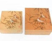 Two Vintage Wooden Nesting Boxes Featuring Engraved Wild Birds On The Lids - Vintage Home Decor, Table Decor, Nesting Boxes