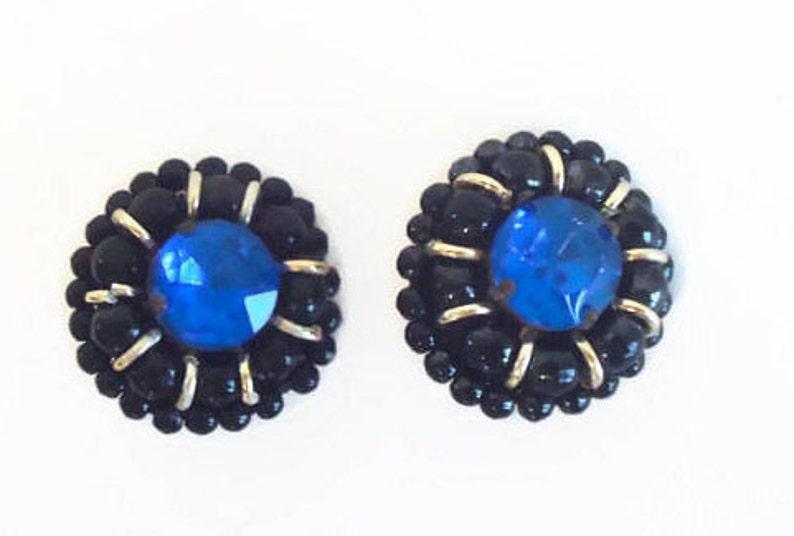 Vintage Blue Rhinestone /& Black Beaded Clip Style Earrings Black Jewelry Beaded Earrings Vintage Earrings Clip On Style Earrings