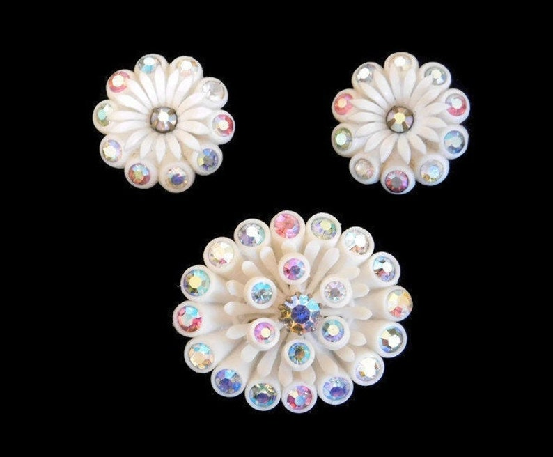 Early Plastic Jewelry Vintage Signed Germany Celluloid and AB Rhinestone Flower Brooch and Matching Clip Earrings Celluloid Jewelry