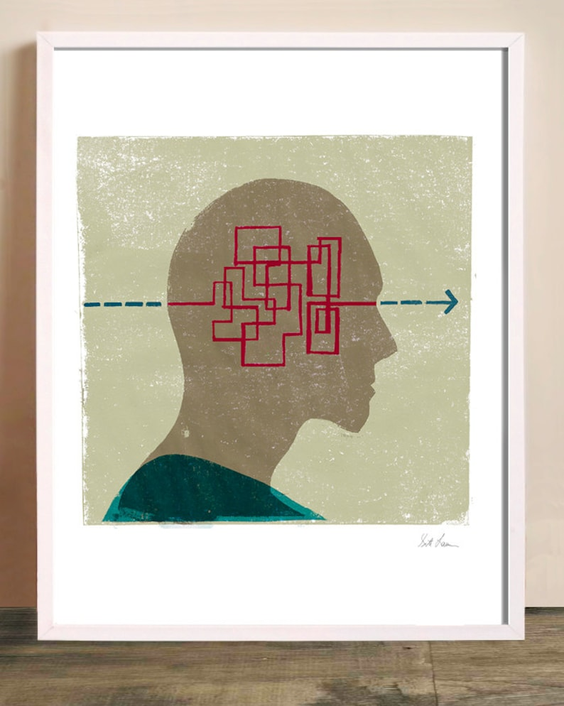 Solving Maze - Art Print, Thinking, Solving Puzzle, Solution, Red, Arrow,  Looking Forward, Progress, Inside Head, Solve Problems, Vision
