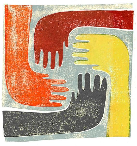 Vier Hände Kunstdruck, gelb, Orange, rot, Kinder kunst, Block Druck, multikulturell, Dekor, Kultur, bunt, Teilen, hell, Teilen