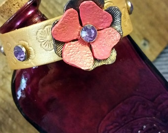 Leather Bracelet hand made, leather flower and crystals for women or girls