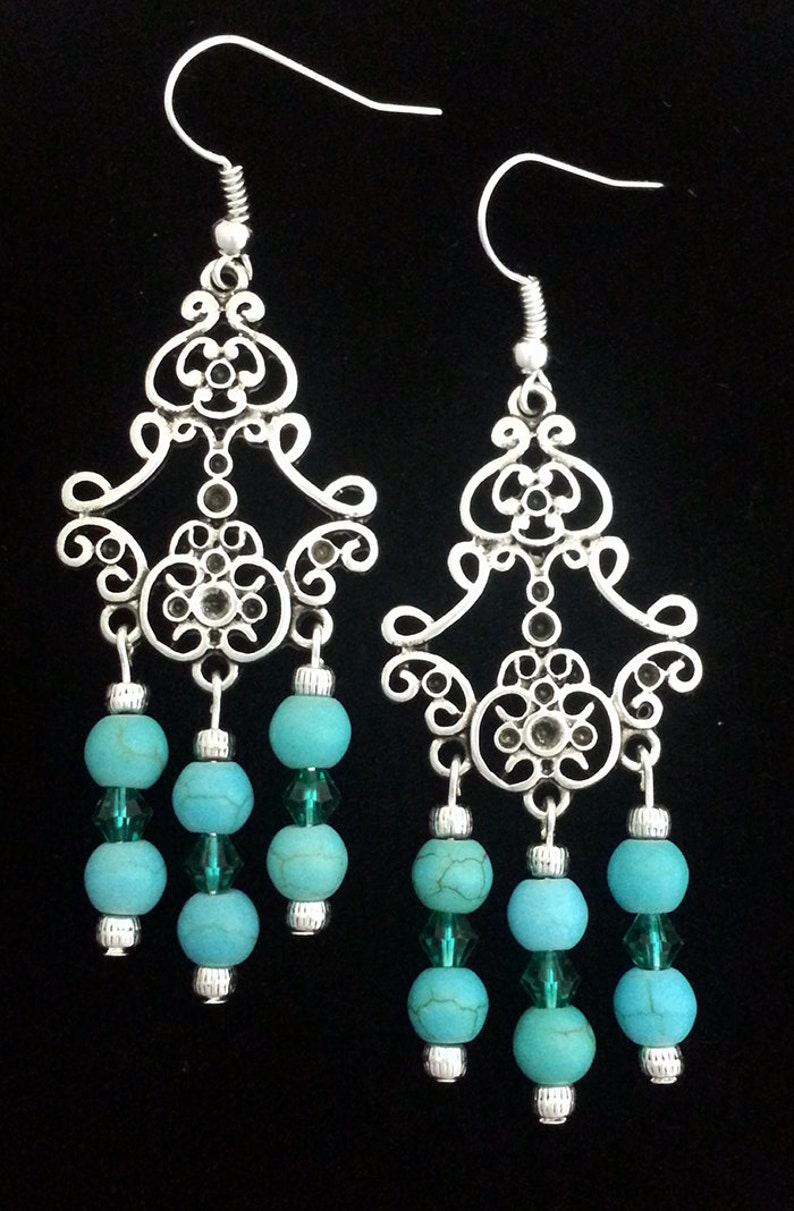 ad6e267d8 Silver and Turquoise Chandelier Earrings | Etsy