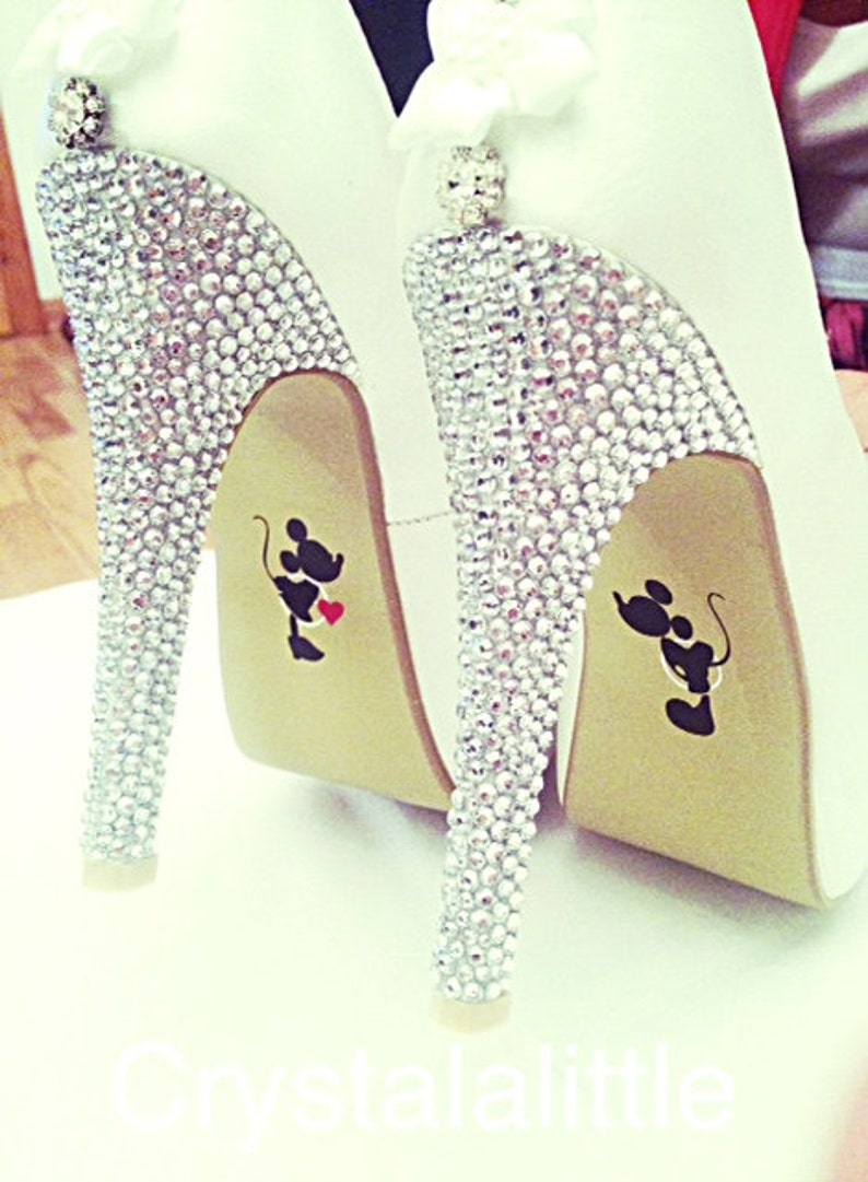 8550d55479fdd8 Mickey and Minnie Wedding Shoe Stickers- Wedding Decal- Wedding Favour-  Bride Gift- Bridal Shoes- Photo Prop