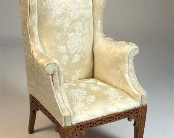 Miniature Dollhouse Or Room Box Chinese Chippendale wing chair J31002