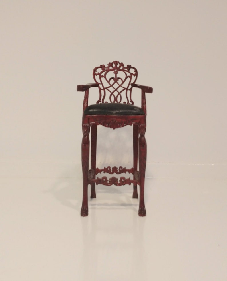 1:12 Dollhouse Miniature Doll Furniture Carved Wooden White Stool High Chair \