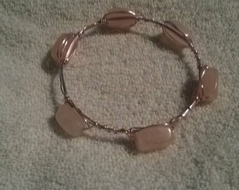 Hot Pink Wire Wrap Bracelet with Rose Quartz