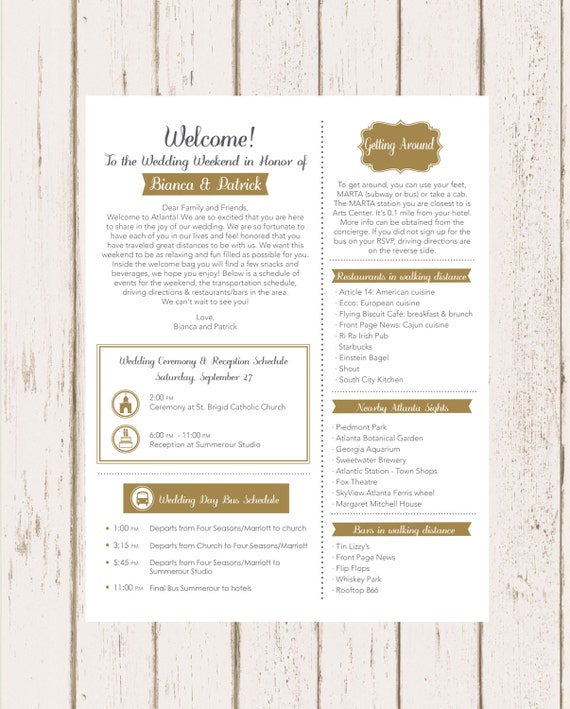Wedding Welcome Letter Etsy