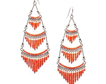 Coral Chandelier Earrings, Orange Chandelier Earrings, Coral Chandelier Earrings, Dangle Earrings, Earrings with Orange beads, Boho Earrings