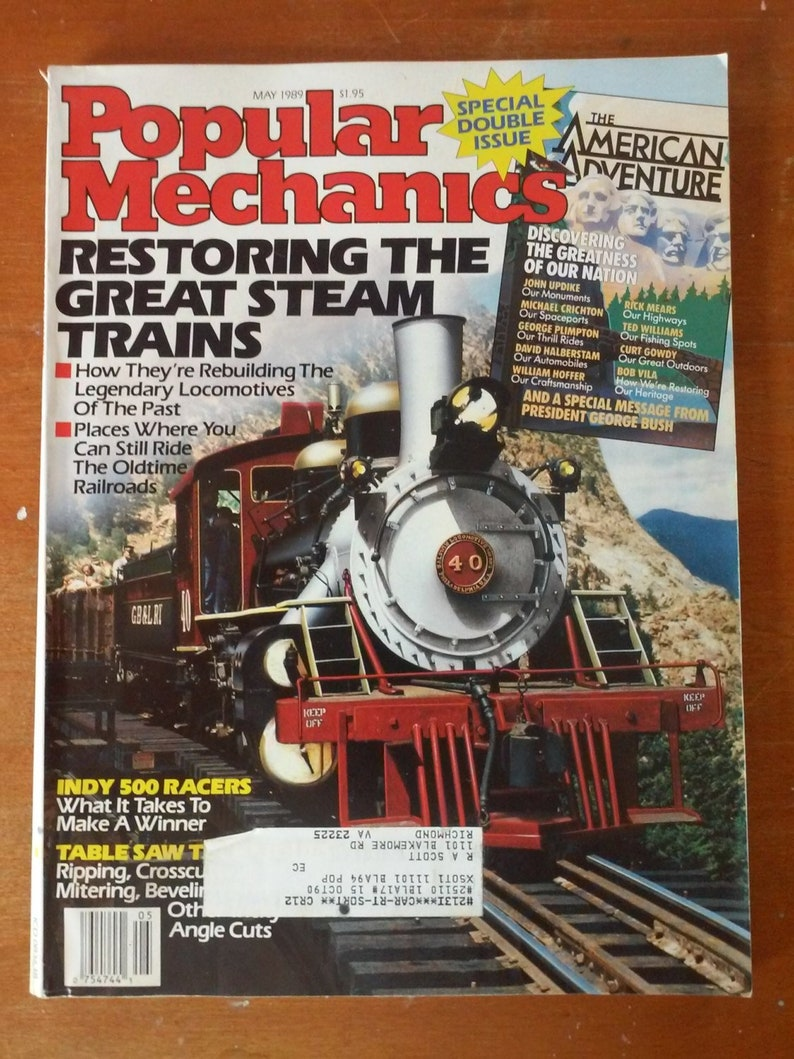 Popular Mechanics Sweepstakes >> May 1989 Popular Mechanics Magazine Excellent Condition Restoring Locomotives Indy 500 Rick Mears Shaker Boxes Spaceport America