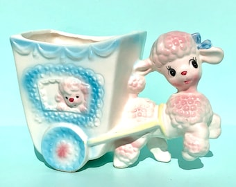 RARE*** Precious 1950's Pink Poodle and Pup Planter.  Made by Napco.  This is just the CUTEST!!