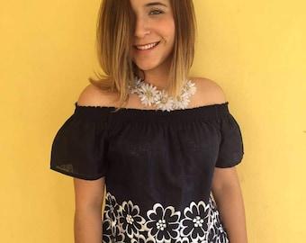 Mexican blouse blusa mexicana Oxchuc mexican party fiesta mexicana frida kahlo day of the dead cinco de mayo mexican birthday boho huipil