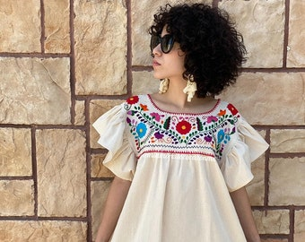 Mexican style Spanish floral dress  White red floral dress Crochet lace .Boho Wedding dress Floral Gypsy dress Bias cut dress Party dress