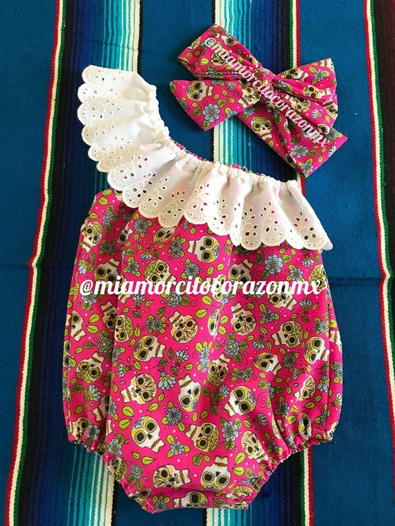 caa2d705dcb Mexican baby romper one shoulder mexican party fiesta mexicana