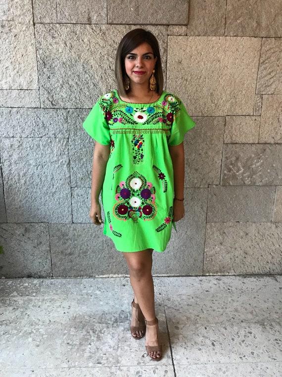 frida sundress mexican boho hippie kaftan ethnic maxi dress Colorful floral embroidery oaxacan vintage dress cotton short sleeve tunic