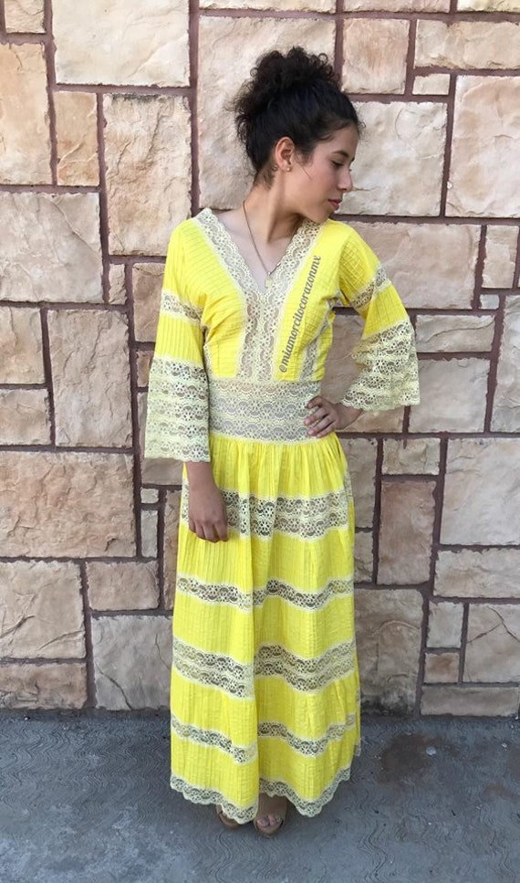 Bright yellow pintuck Mexican wedding dress, long