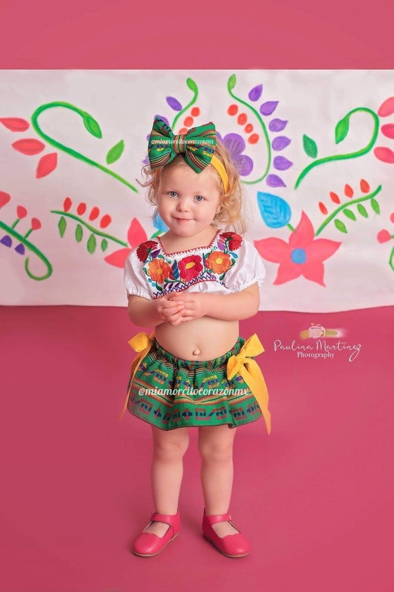 Mexican outfit baby bloomers and top mexican party first birthday day of the dead cinco de mayo uno fiesta cambaya first fiesta frida 0-3m