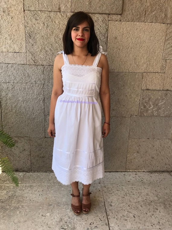 Vintage off white cotton lace dress, mexican weddi