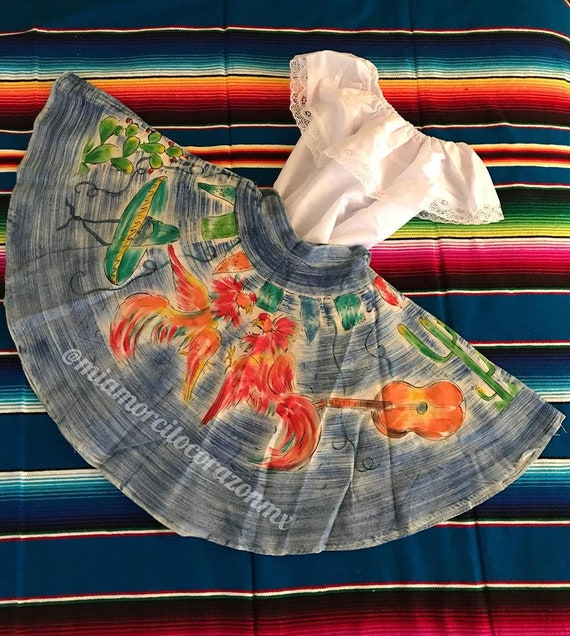 Mexican skirt mexican blouse vintage 50's hand-pai