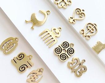 24 TOTAL- Antique Gold Adinkra MIX- 2 of Each Adinkra Charm