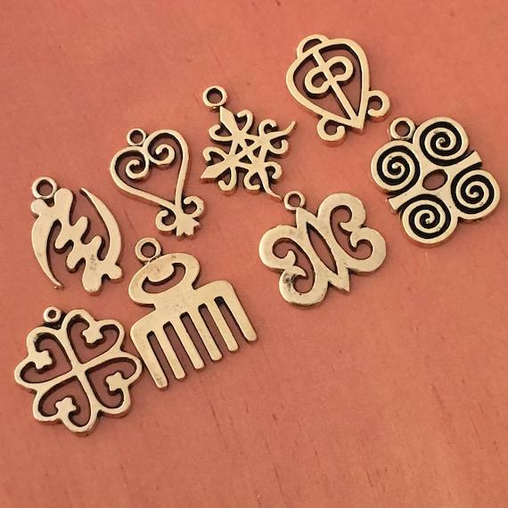 2 of Each Adinkra charm 16 total Pewter Adinkra MIX