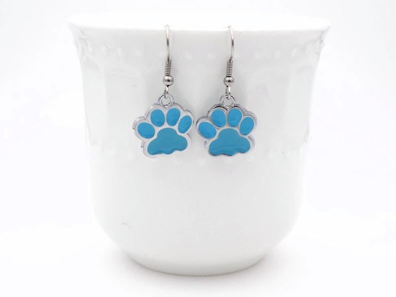 Aque Blue pawprint drop earrings dog themed dangle earrings image 0