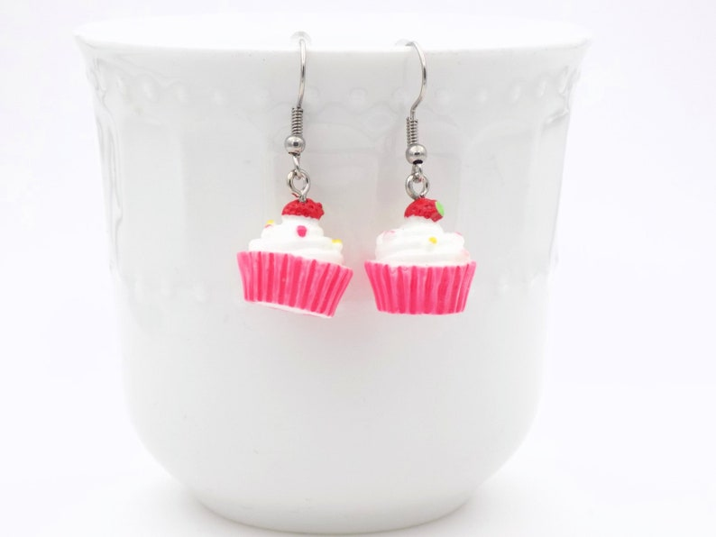 Pink Sugar Cupcake Earrings with frosting and a strawberry on image 0