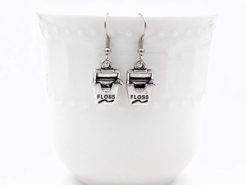 Dental Floss earrings for her dental assistant gift office image 0