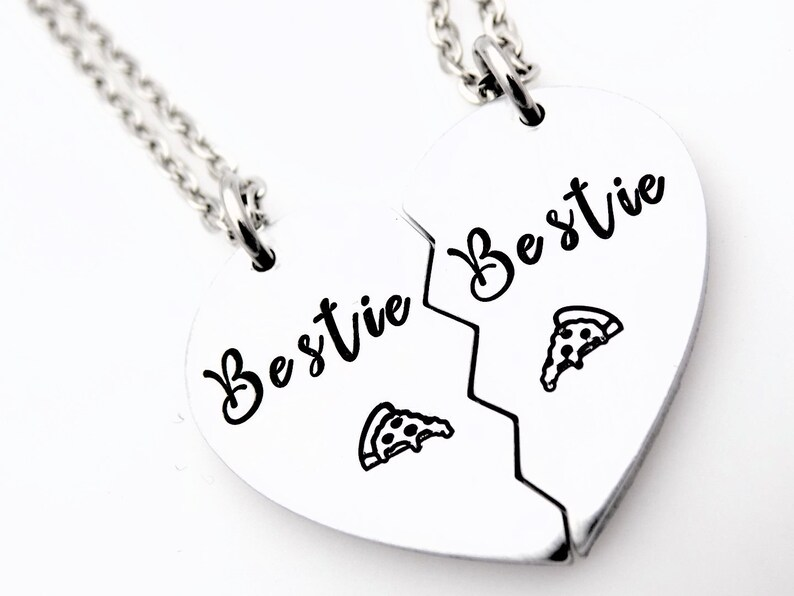 Gift for Best Friends Bestie Pizza slice necklaces Set of 2 image 0