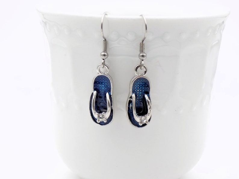 Beach girl earrings Blue flip flop Dangle Earrings for her image 0