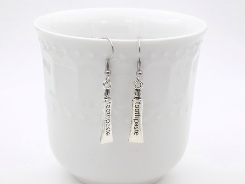 Toothpaste earrings for her dental assistant gift office image 0