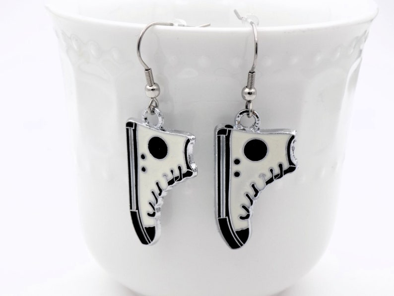 White and black High Top Earrings Dangle Earrings for her image 0