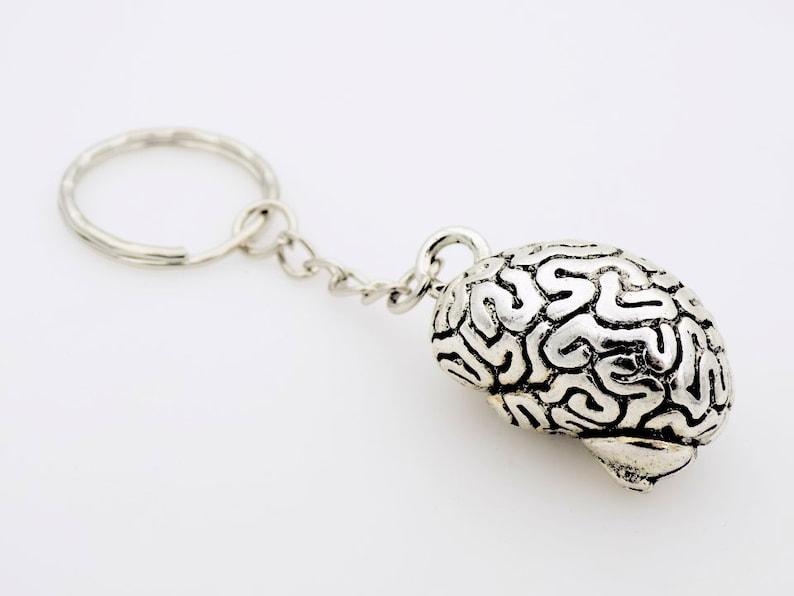 Anatomical Brain Keychain Macabre Horror Halloween Zombie image 0