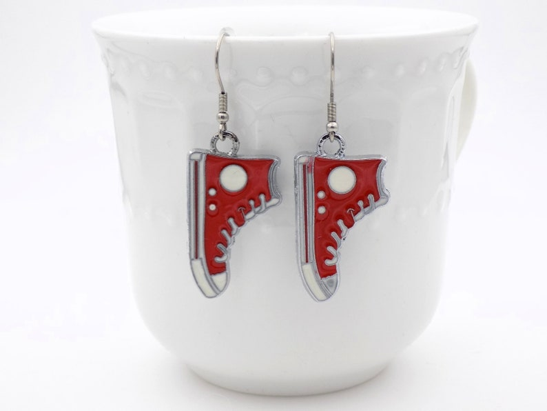 White and Red High Top Earrings Dangle Earrings for her image 0