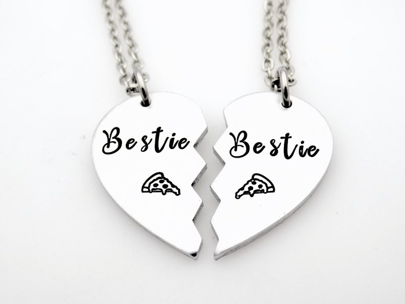 Gift for Best Friends Gift for BFF/'s Keep one gift the other necklace Set of 2 matching jewelry Pizza lover Bestie Pizza slice necklaces
