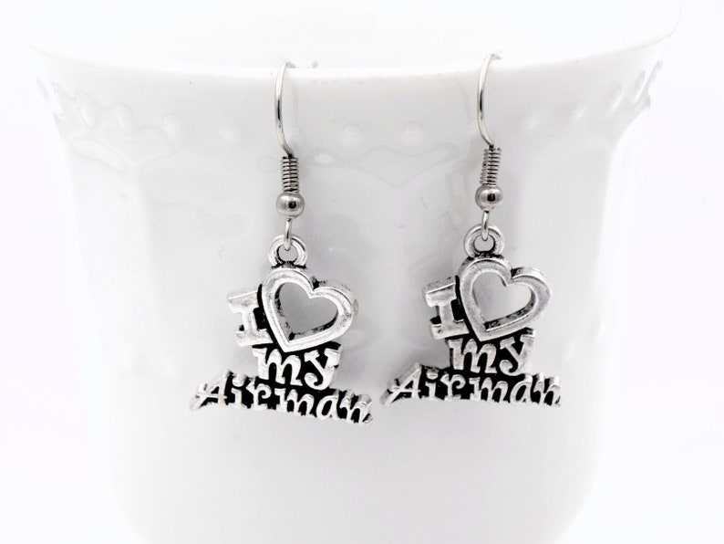 I love my Airman earrings gift for girlfriend or wife of air image 0