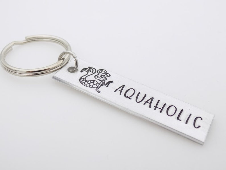 Handstamped Keychain for her Sea themed Mermaid Keychain Aquaholic keychain Ocean water nature theme Beach Girl Stamped metal keychain