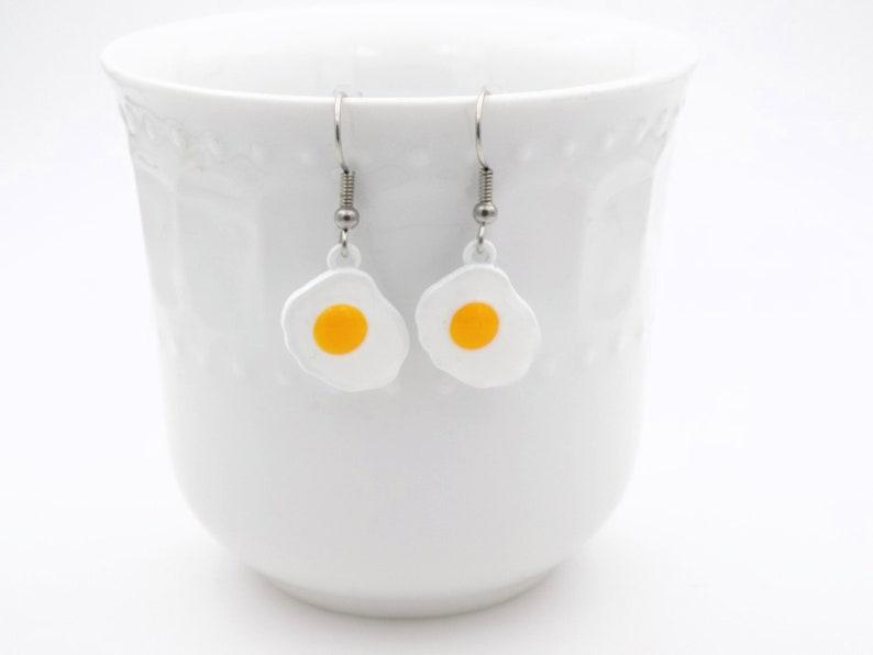 Breakfast Earrings  Eggs   silver gag gift  delicious food image 0