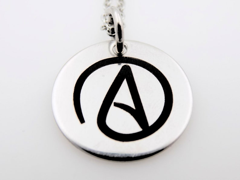 Atheist Necklace Atheist jewelry  Laser Marked Jewelry A image 0