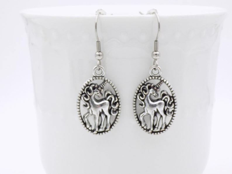Unicorn Jewelry Silver and Black Everyday dangle earrings image 0