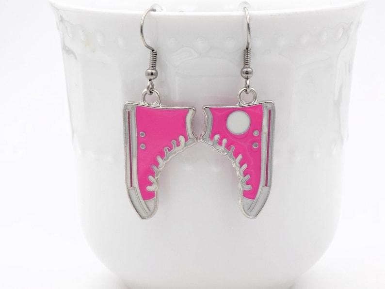 Pink High Top Earrings Dangle Earrings for her Silver image 0