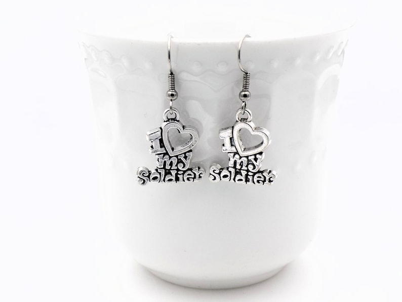 I love my Soldier earrings gift for girlfriend or wife of army image 0