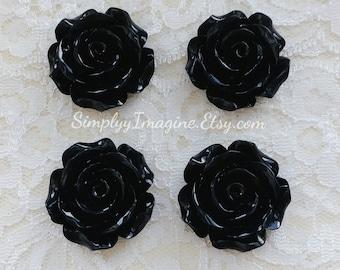 Black Rose Flower Cabochons Resin Flatback Roses Medium Scrapbook Supplies - 4 PCS - 30mm
