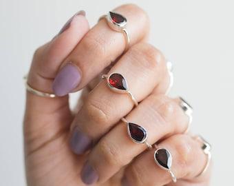 Minimalist Garnet Ring, Pear Garnet Birthstone Ring