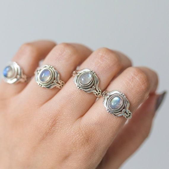 JUNE  moonstone ring Sterling silver ring Boho chic ring